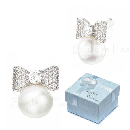 Less Fashion Hypoallergenic Surgical Steel Dangle Stud Bow Pearl Earrings In Gift Box Edgpbslv