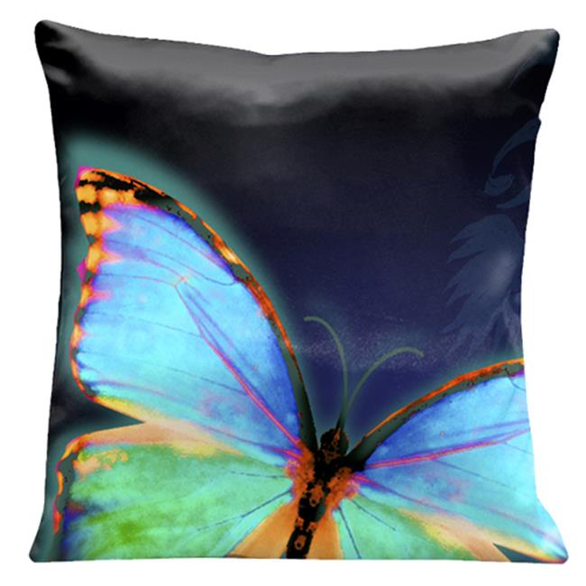 Lama Kasso 542 Large Butterfly on a Dark Blue Transitioning to Black Background 18 in. Square Satin Pillow
