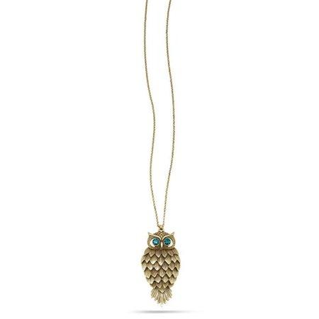 Eshopo 0900000033995 Gold Tone Metal Aqua Blue Crystal Owl Pendant Necklace
