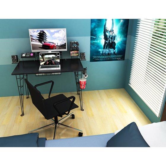 Atlantic Furniture Gaming Desk Black Carbon Fiber
