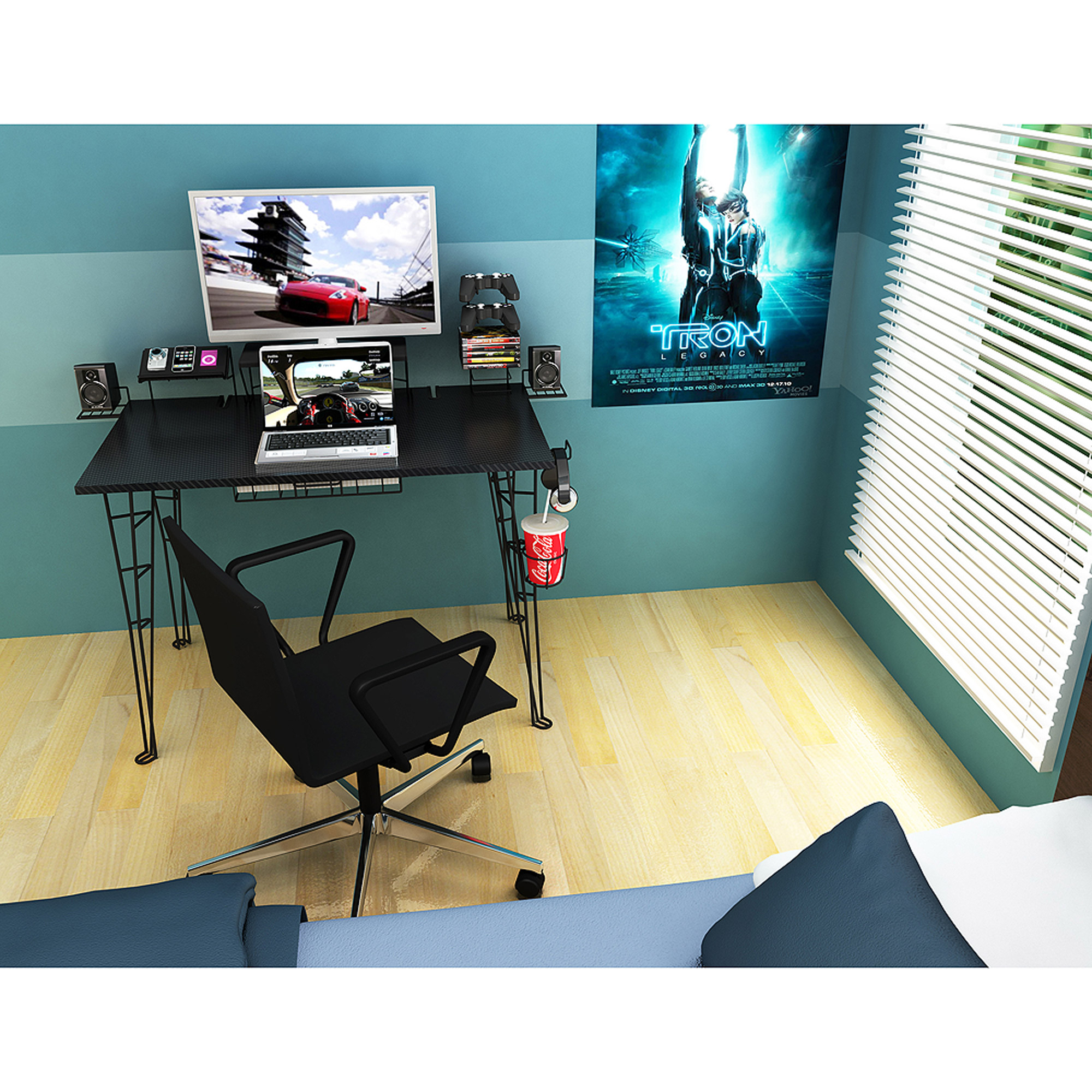 Atlantic Furniture Gaming Desk, Black Carbon Fiber