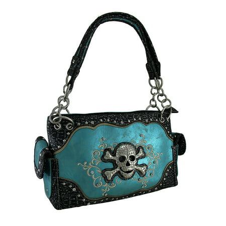 Rhinestone Skull Embroidered Swirls Metallic Trim Concealed Carry
