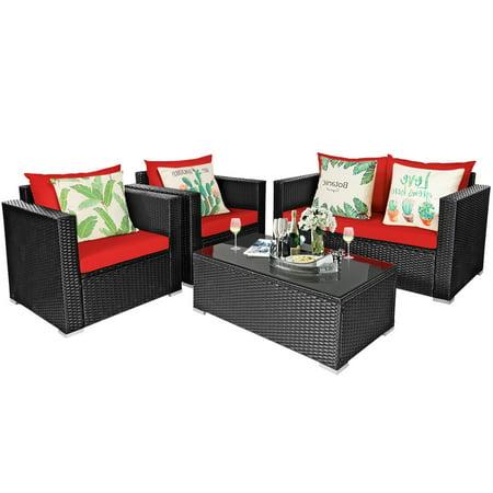 Gymax 4pcs Rattan Patio Conversation, Outdoor Conversation Furniture