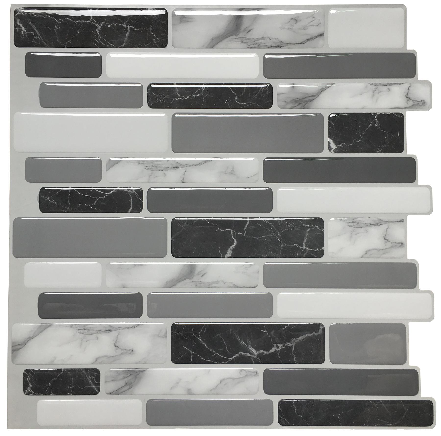 "10-Tiles Self Adhesive Wall Tile Peel and Stick Backsplash Tile for Kitchen, Marble Design 12""x12"""