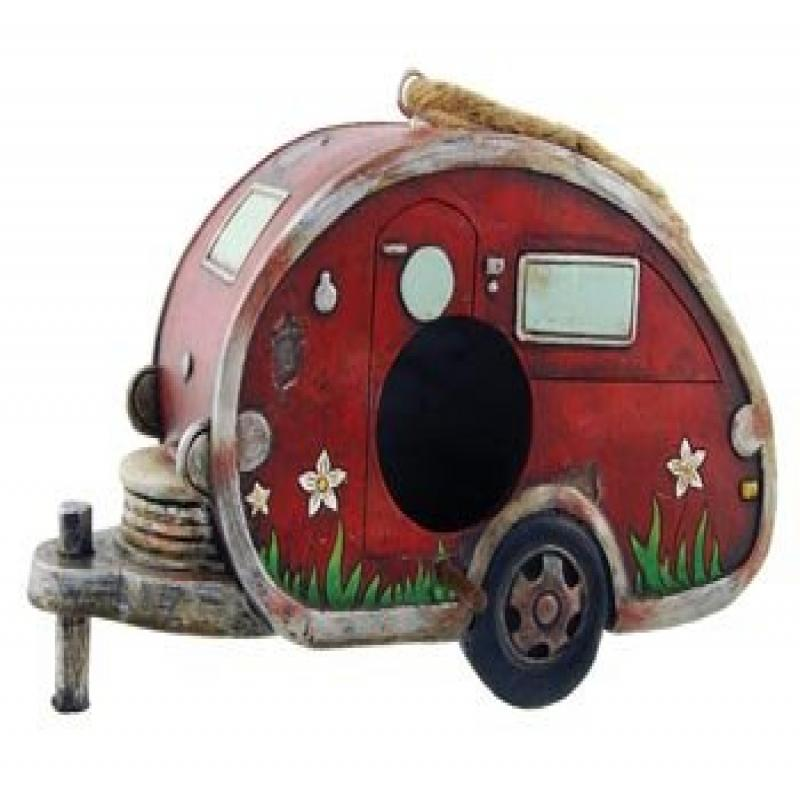 Birdhouse Camper Trailer, RV Collectible Garden Decor, 8-inch by