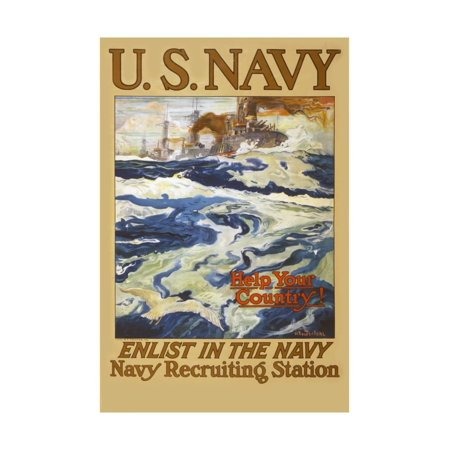 US Navy Vintage Poster - Help Your Country Print Wall Art By Lantern Press