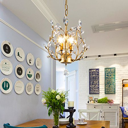 Garwarm 3 Lights Vintage Crystal Chandeliers Ceiling Led Light Pendant Lighting Fixtures