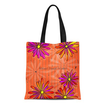 SIDONKU Canvas Tote Bag Letter Retired Postal Worker Daisies Orange Carrier Retiring Retirement Reusable Handbag Shoulder Grocery Shopping