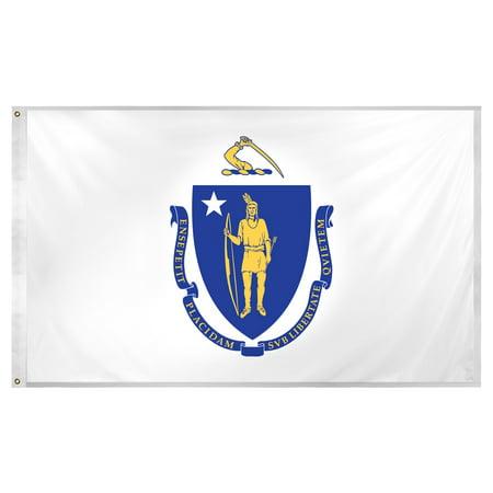 Six Flags Massachusetts Halloween (Massachusetts flag 3 x 5 feet Super Knit)