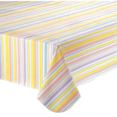 Easter Tablecloth (Easter Stripe Vinyl Table Cover 60