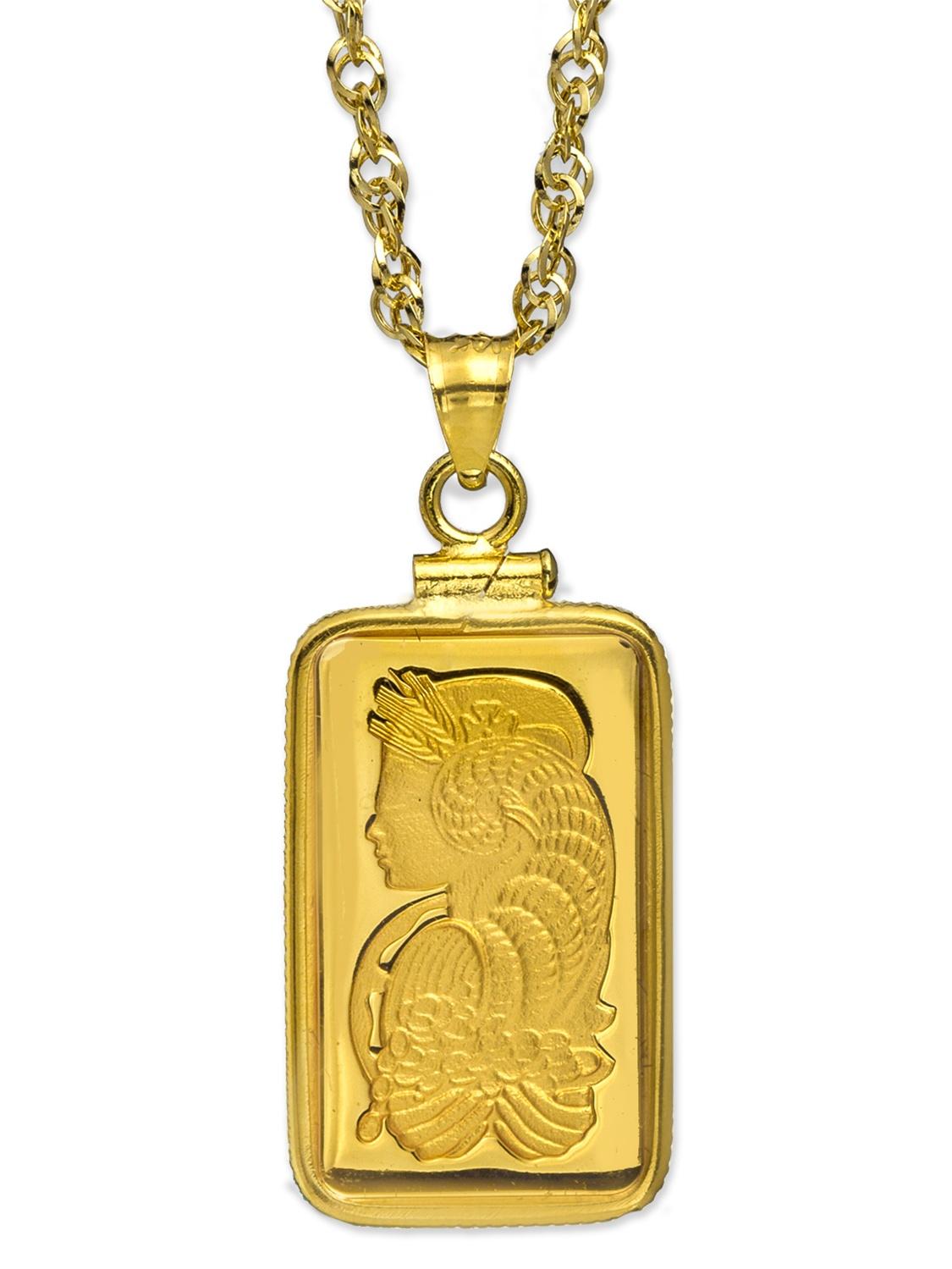 5 gram Gold Pendant - PAMP Suisse Fortuna (w/Chain)