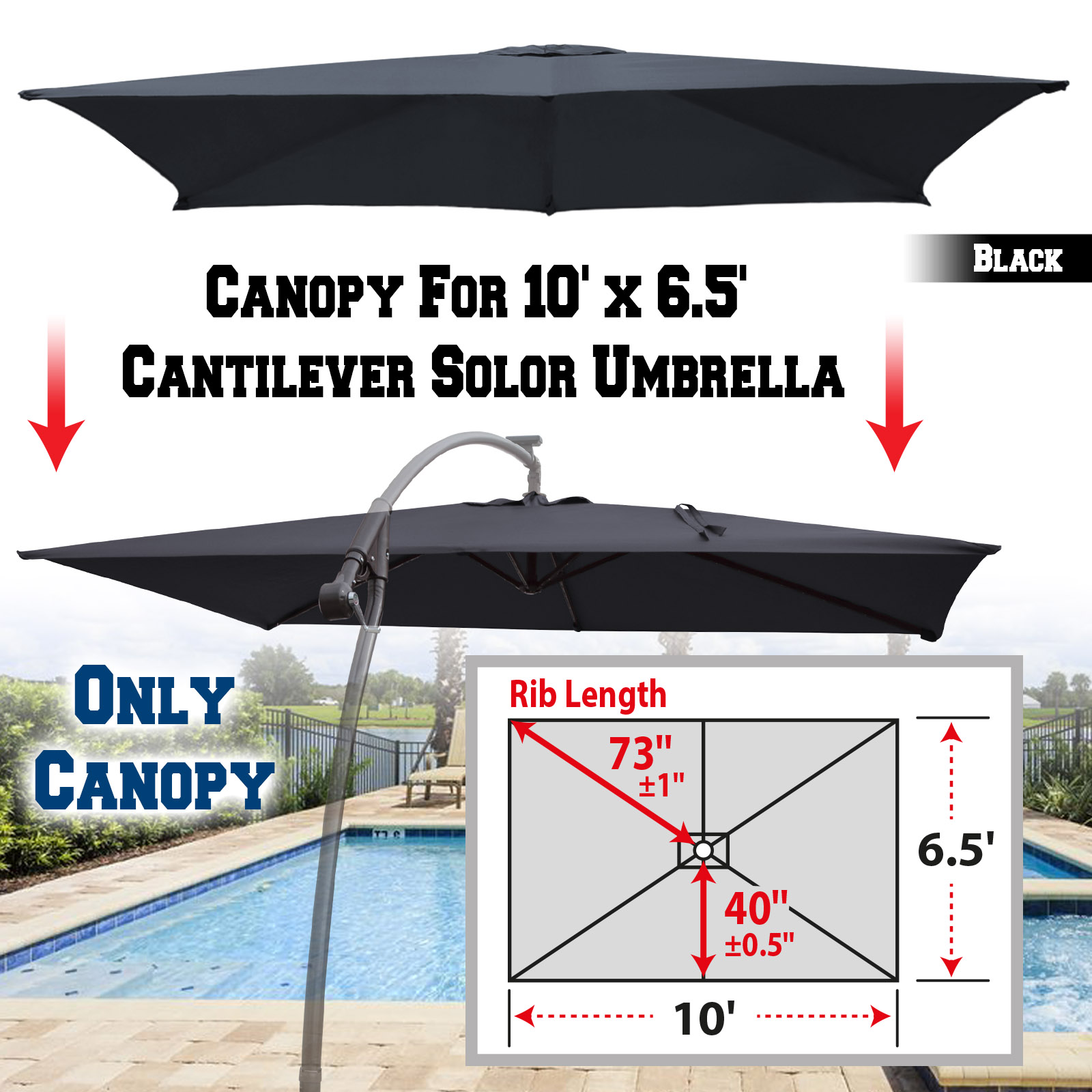 87de2c536a51 Strong Camel Replacement Canopy Cover for 10' X 6.5' Cantilever Patio  Umbrella Offest Parasol Top Replacement (Tan)