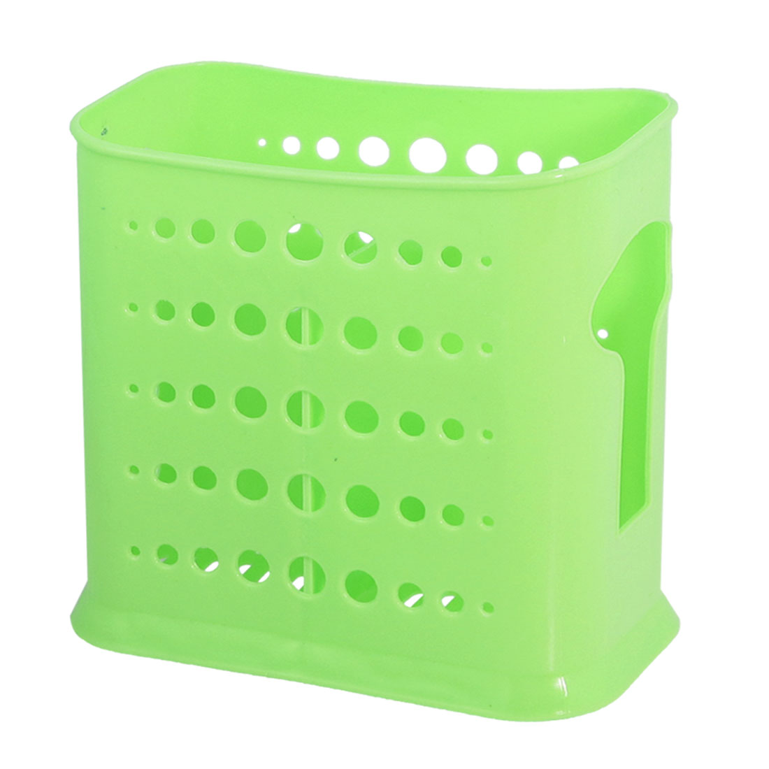 Hollow Out Round Perforating 2 Compartments Chopsticks Fork Cage Holder Green - image 1 of 1