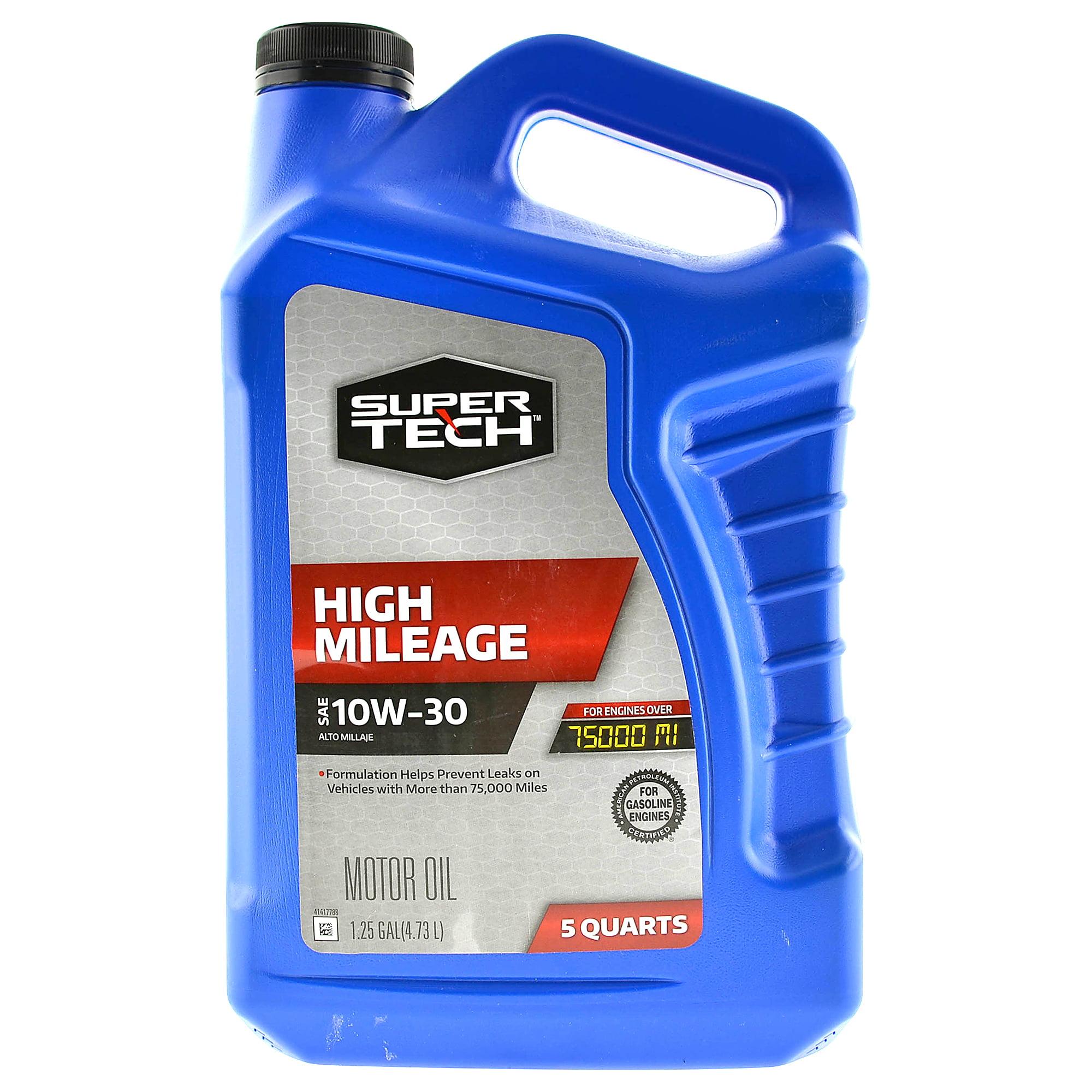 Super Tech High Mileage SAE 10W-30 Motor Oil, 5 Quarts