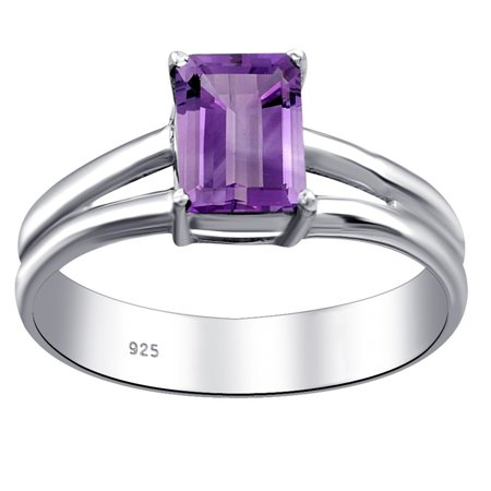 Essence Jewelry 925 Sterling Silver 1 Carat Amethyst Octagon Shape Ring Size -7