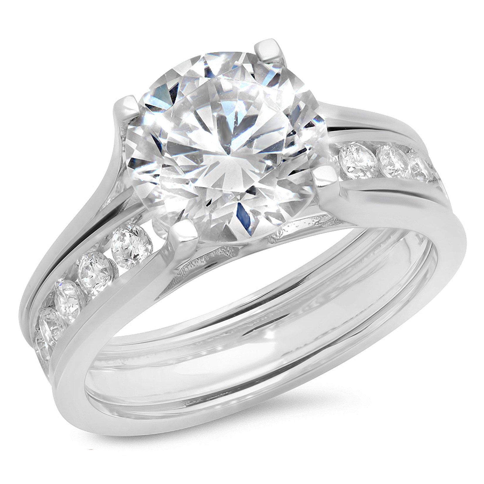 2.99 CT Round Cut Sim Diamond Halo Bridal Engagement Wedding Ring sliding band set 14k White Gold, Size 5.5