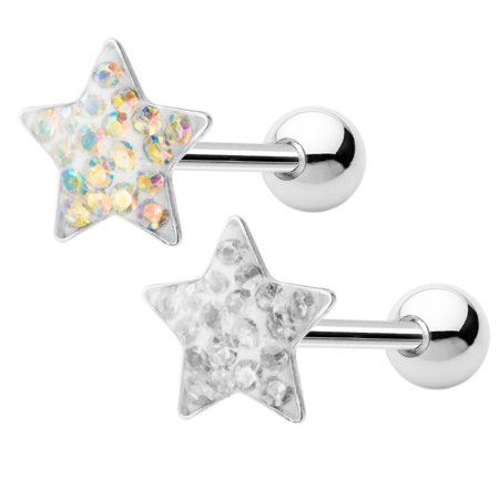 - Tongue Piercing Barbell - Sold as a Pair! - Star Ferido-Set CZ Gems - 14ga 316L