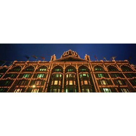 Low angle view of a building lit up at night Harrods London England Canvas Art - Panoramic Images (18 x 7)