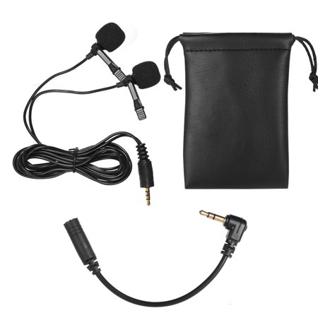 Dual-head Lavalier Lapel Omnidirectional Clip-on Microphone Mic for Smartphone Laptop Camera 3.5mm Audio Plug Devices for Program Video Recording Interview