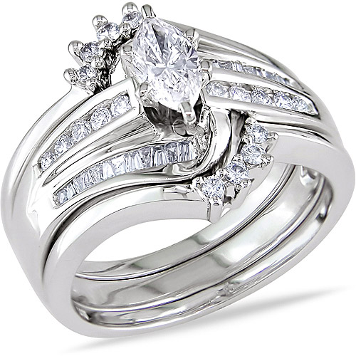 Miabella 3 4 Carat T.W. Marquise, Baguette and Round-Cut Diamond 14kt White Gold Bridal Set by Delmar Manufacturing LLC