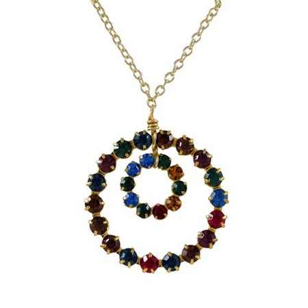 Multi Gemstone Circle Pendant - Dlux Jewels 16 x 2 Gold Plated Brass & 11 mm Open Round Circle 19.5 mm Round Open Circle with Dark Multi Color Crystals Necklace