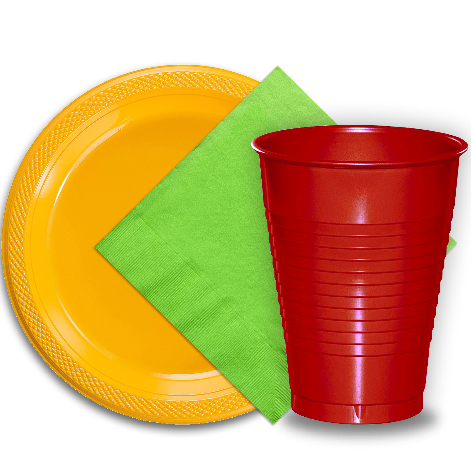 """50 Yellow Plastic Plates (9""""), 50 Red Plastic Cups (12 oz.), and 50 Lime Green Paper Napkins, Dazzelling Colored Disposable Party Supplies Tableware Set for Fifty Guests."""