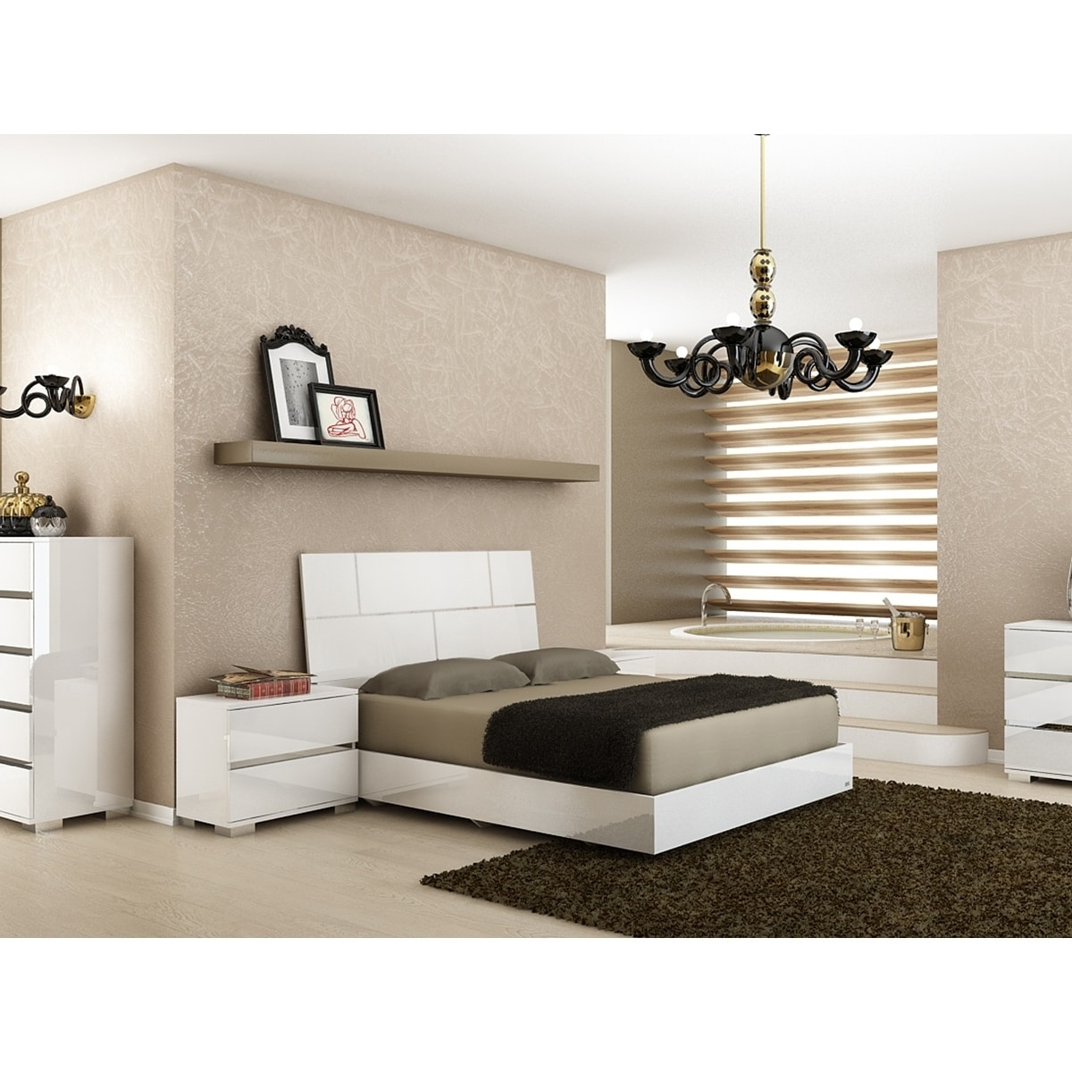 Casabianca Home Pisa High Gloss White Lacquer with Stainless Steel Queen Bed