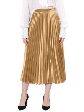 Women's Zip Closure Accordion Pleated Metallic Midi Skirt M Red