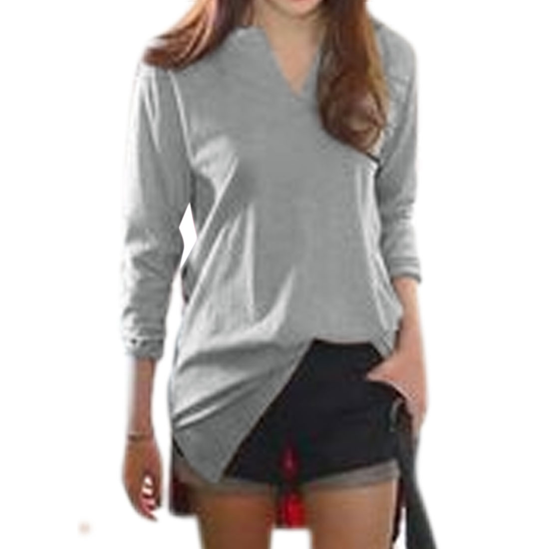 Women Long Sleeve Low High Hem Color Block Tunic T-Shirt Gray S