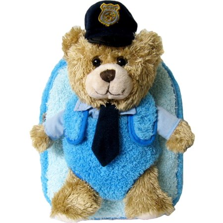 Childrens Super Soft Bags Mozlly Blue Police Chief Bear Plush Backpack (2pc Set)
