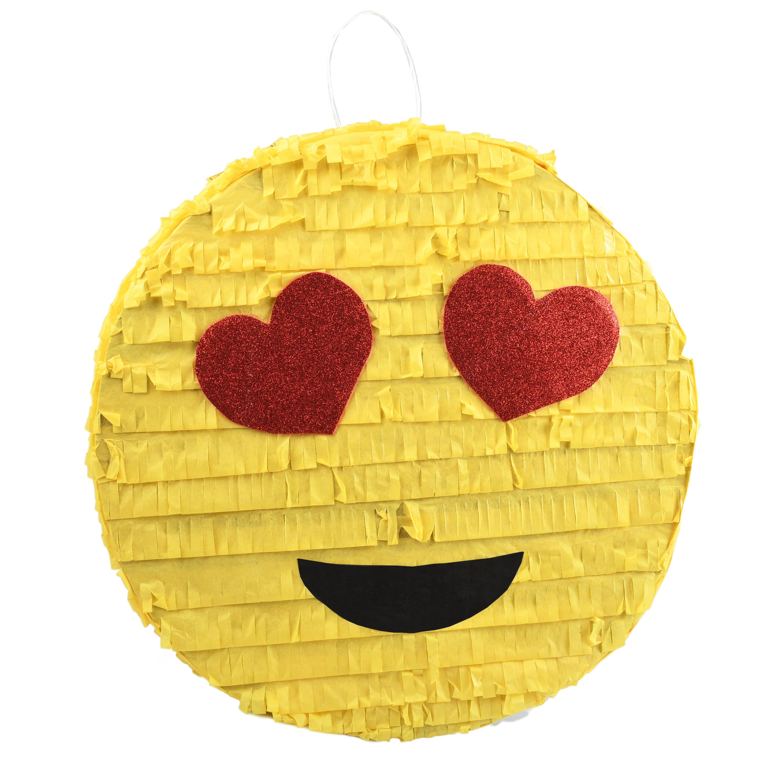Heart Eyes Emoji Party Pinata, Traditionally Handcrafted