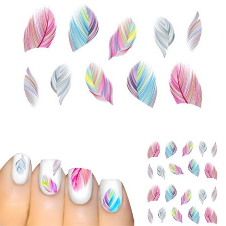 Holiday Clearance Nail Feather Art Water Transfer Decal Sticker -
