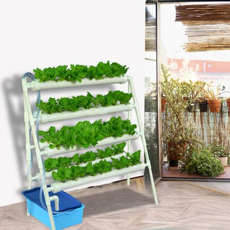 Yosoo Double Side Hydroponic 72 Holes Plant Site Water Culture Piping System Grow Kit Rack US110-240V, Water Culture Piping Site, Hydroponic Planting