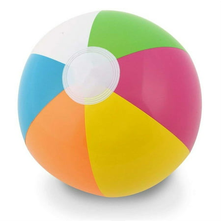 Blow Up Pool Toys (24in Beach Ball Inflatable Multi Coloured Holiday Swimming Pool Party Toy Blow Up Summer)