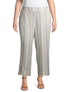 Terra & Sky Women's Plus Size Striped Wide Leg Linen Crop Pant