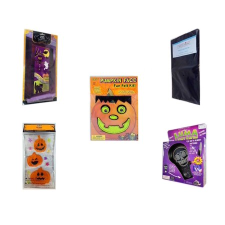Halloween Fun Gift Bundle [5 Piece] - Happy  Door Panel - Black Plastic Table Cover  - Darice Pumpkin Face Fun Felt Kit - Frankenstein - Gel Clings Pumpkins, Stars -  Luma Light Show Flashing Skelet - Halloween Pumpkin Faces Coloring