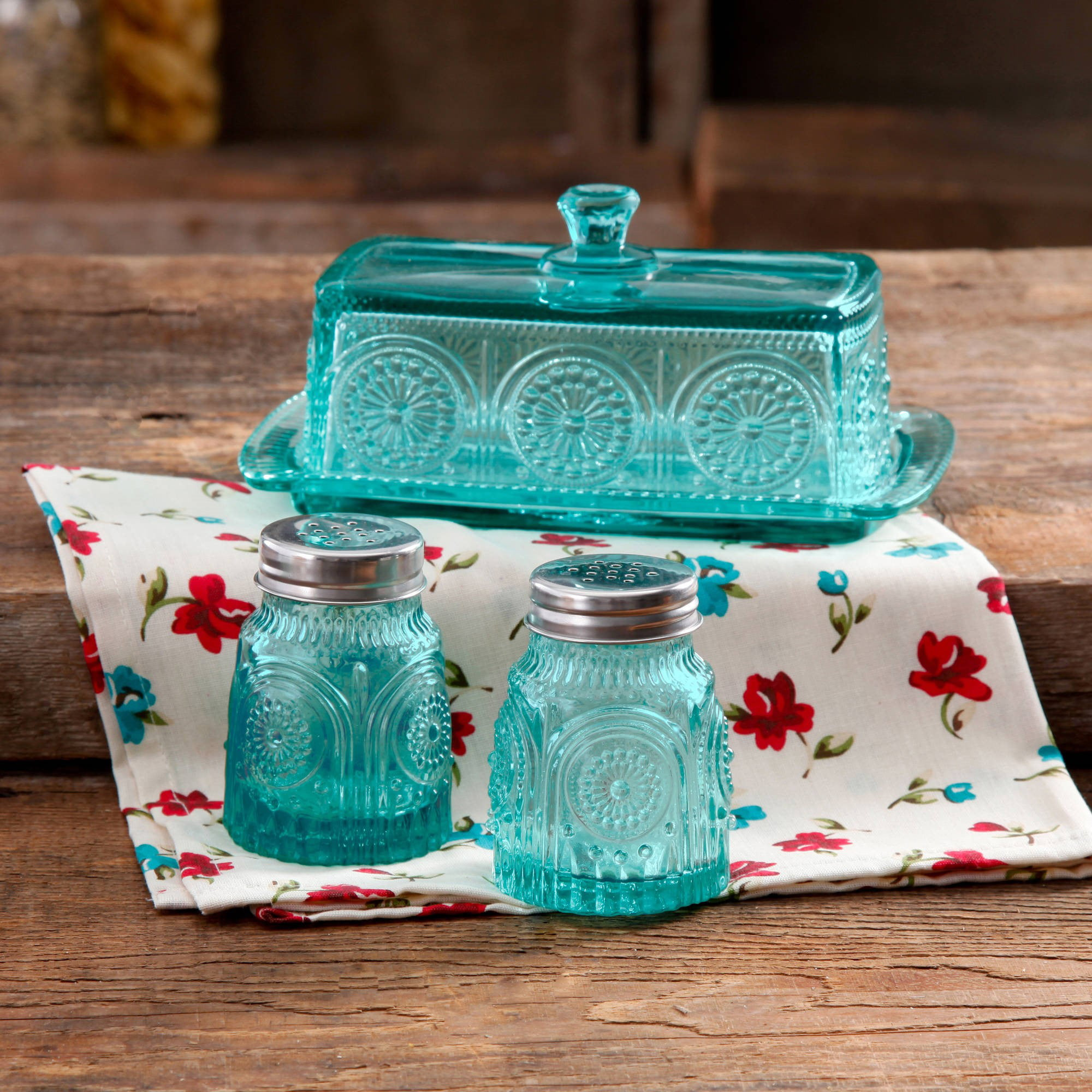 The Pioneer Woman Adeline Glass Butter Dish with Salt And Pepper Shaker Set by Gibson Overseas Inc