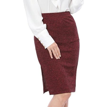 Split Spandex Skirt (Unique Bargains Women's Elastic Waist Split Side Business Knit Skirt)
