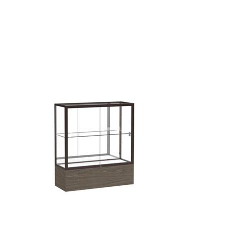 Waddell 2281MB-BZ-WV Reliant 36 x 40 x 14 in. Walnut Vinyl Base Display Case, Mirror Back - Dark Bronze 613 Dark Oxidized Satin Bronze