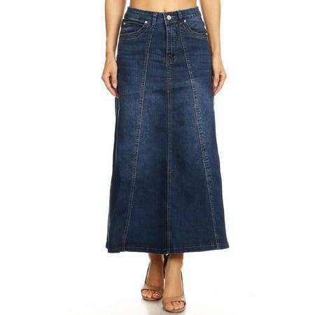 Women's Juniors Mid Rise A-Line Long Jeans Maxi Denim 8-Gore Skirt