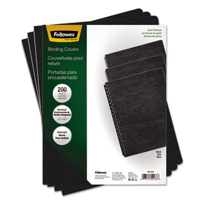 Classic Grain Texture Binding System Covers, 11-1 4 x 8-3 4, Black, 200 Pack, Sold as 1 Package, 200 Each per... by