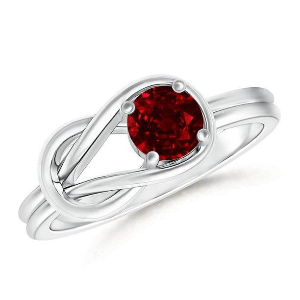 July Birthstone Ring - Solitaire Ruby Infinity Knot Ring in Platinum (5mm Ruby) - SR0415R-PT-AAAA-5-10.5