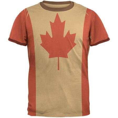 Canadian Canada Flag Mens Ringer T Shirt (Lightweight Ringer)