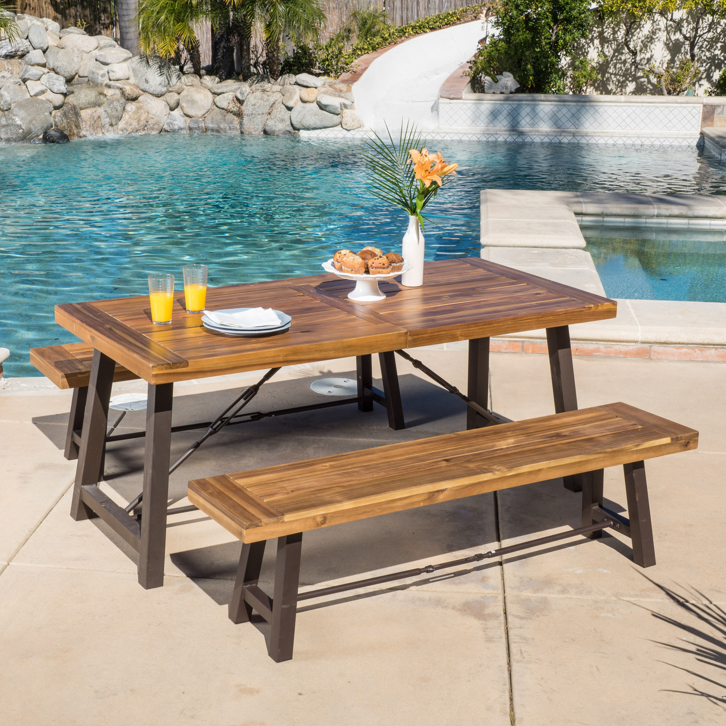 Davidson 3 Piece Outdoor Acacia Wood Picnic Dining Set, Teak Finish