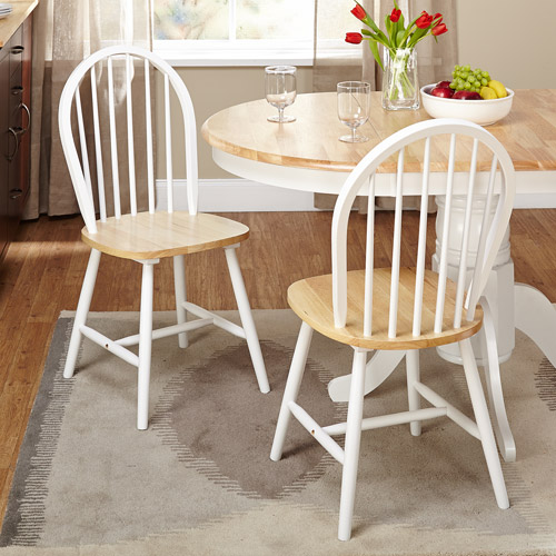 Windsor Dining Chair, White/Natural, Set of 2