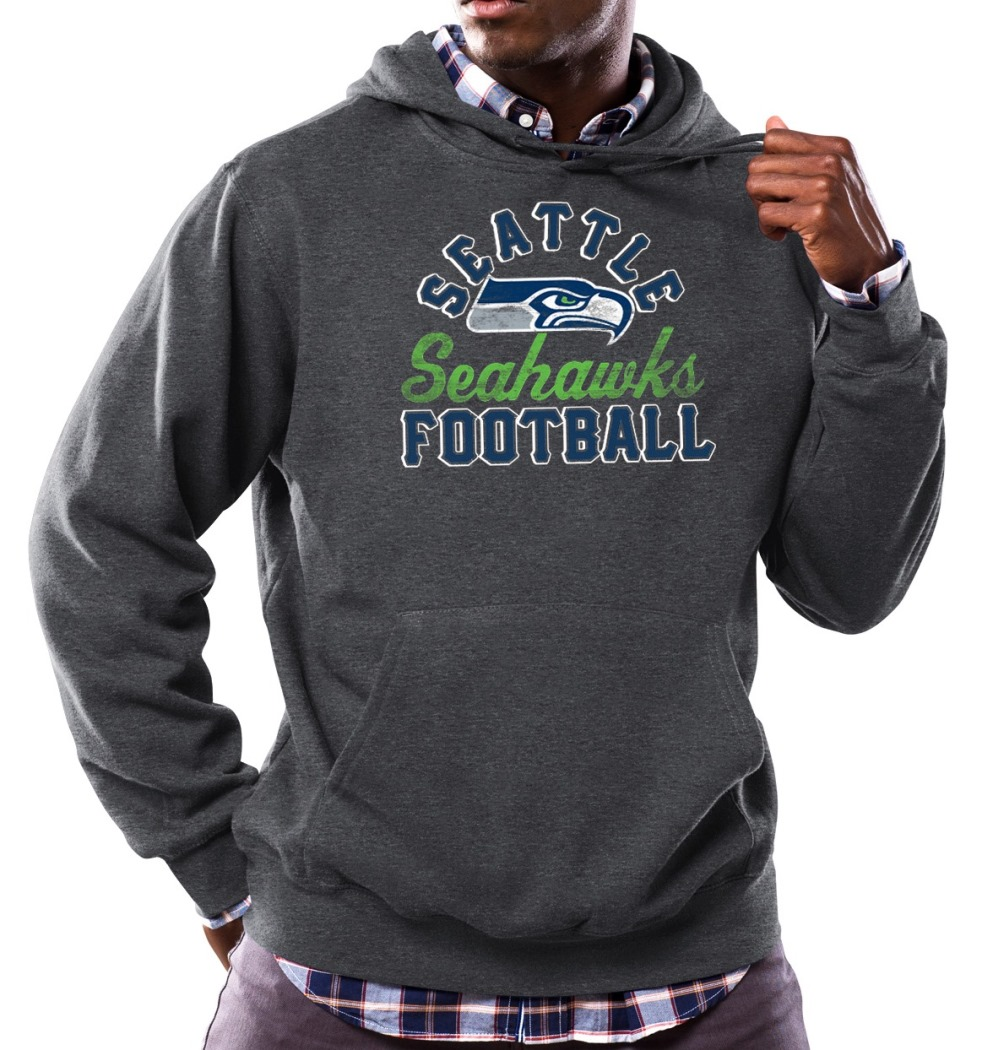 "Seattle Seahawks Majestic NFL ""Kick Return 3"" Men's Charcoal Hooded Sweatshirt"
