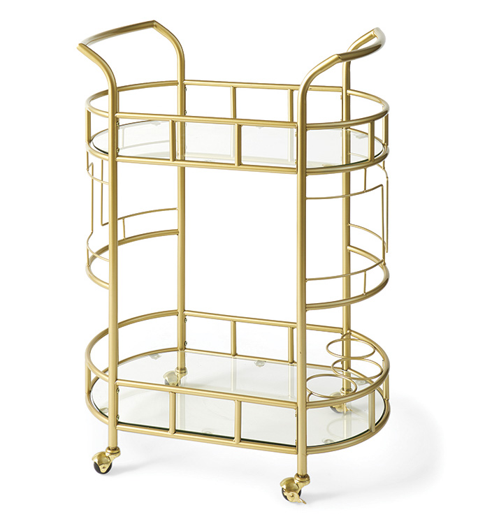Better Homes & Gardens Fitzgerald 2-Tier Serving Cart, Gold by Cheyenne Products