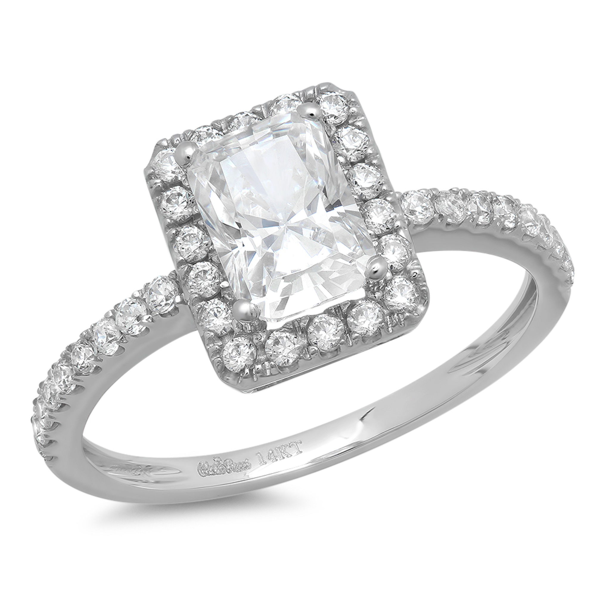 1.98ct Emerald Cut Simulated Diamond CZ Halo Solitaire We...