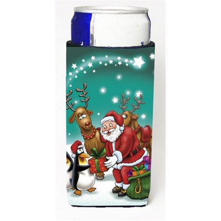 Santa Claus Christmas with the Penguins Michelob Ultra Can coolers for Slim