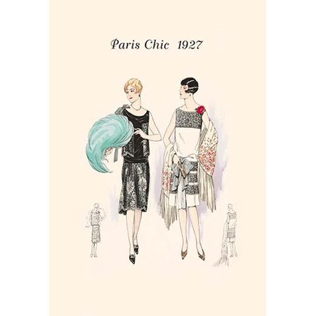 Page from a 1920s fashion catalog from France with the lastest in womens attire Poster Print by unknown
